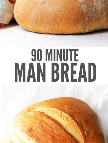 "Two images of a loaf of bread, one being sliced. Text overlay says, ""90 Minute Man Bread""."