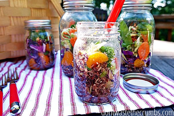 Summertime is here and that means picnics! Change up the usual sandwiches with this easy recipe for a Asian Rice Mason Jar Salad - fresh vegetables, rice and a miso vinaigrette layered in a picnic-friendly jar makes for a great lunch on the go! :: DontwastetheCrumbs.com