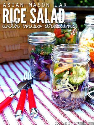 Asian Mason Jar Salad with Rice and Miso Dressing