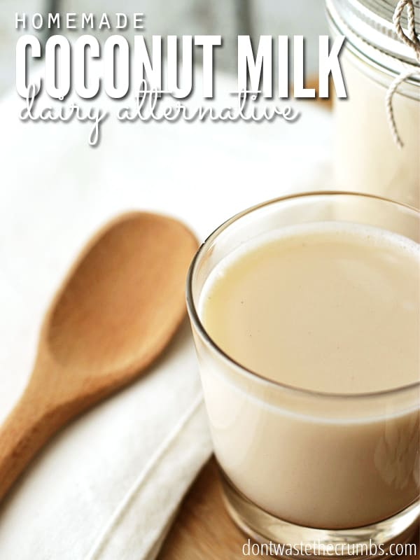 Get this - you can save 85% on coconut milk by making it yourself! 2 simple ingredients and 2 minutes is all it takes to make this homemade coconut milk recipe, and without all the added junk, it's so much healthier than store bought! :: DontWastetheCrumbs.com