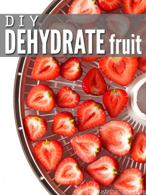 "Dehydrator tray filled with strawberry slices with text overlay, ""DIY Dehydrate Fruit""."
