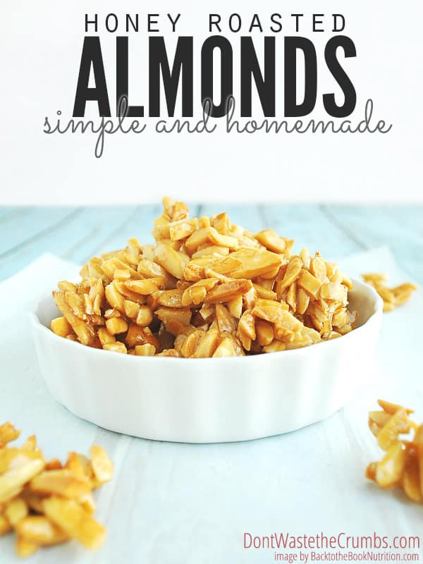 Homemade honey roasted almonds are THE BEST topping for any salad, hands down. Plus you save over 70% by making them yourself! 3 simple ingredients and ready in less than hour, stop wasting your money on expensive store-bought nuts and go the healthier, more affordable route by doing them yourself! :: DontWastetheCrumbs.com