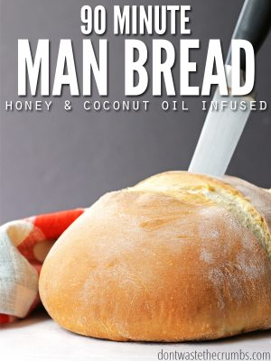 "Loaf of homemade bread with text overlay, ""90 Minute Man Bread Honey & Coconut Oil Infused""."