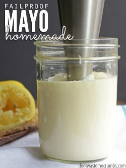 Delicious recipe for homemade mayo plus tips for making it fail proof every time! Just 4 ingredients, perfect for novice cooks & better than store-bought! :: DontWastetheCrumbs.com