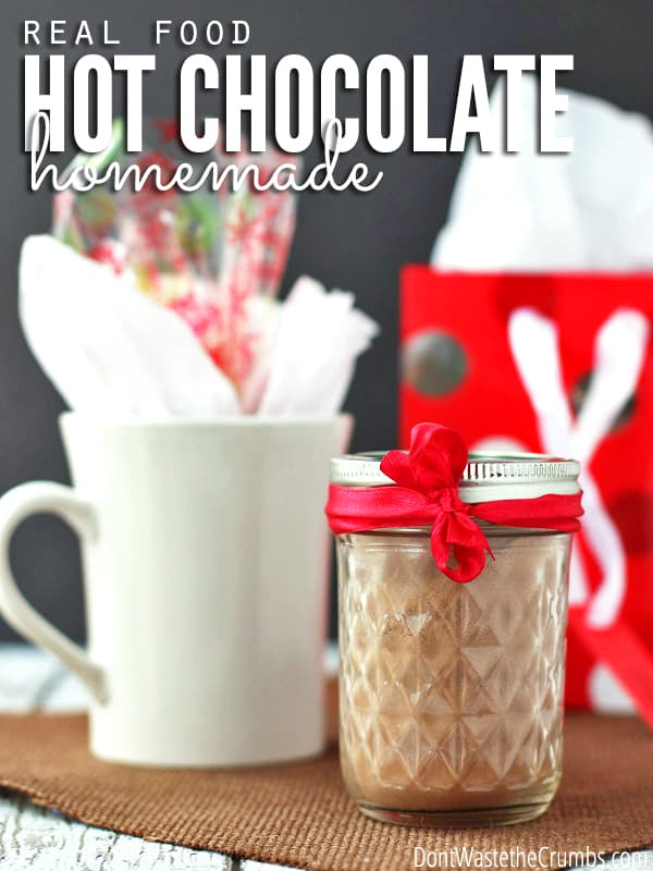 This homemade instant hot chocolate is a great alternative to the prepackaged kind. It makes a fantastic, frugal gift and it's 100% real food. Recipes for both a single serving or a whole batch included! :: DontWastetheCrumbs.com