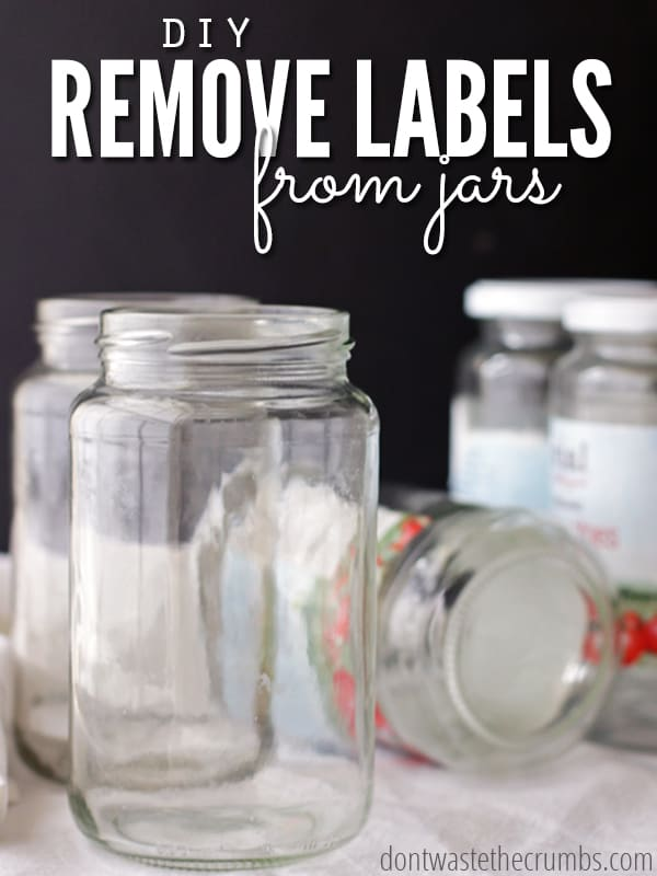 Love this awesome kitchen hack! Learn the simple DIY trick to remove labels from jars using a common ingredient you already have on hand! Ready in minutes, great budget tip and saves money with reusing what you already have! :: DontWastetheCrumbs.com