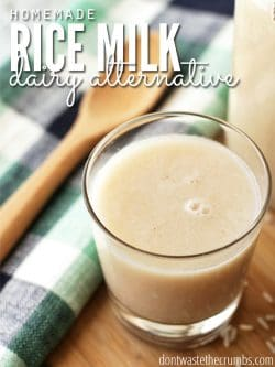 Homemade rice milk costs just 6¢ to make! Compared to store-bought, you're saving 99%!! My favorite variation is cinnamon vanilla - it's so good! :: DontWastetheCrumbs.com