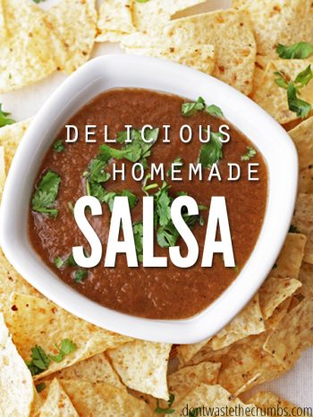 Try this quick and easy Homemade Salsa Recipe. Made with simple on-hand ingredients. Versatile for just enough spice and delicious flavor! Enjoy on taco night with homemade corn tortillas and our simple guacamole recipe!