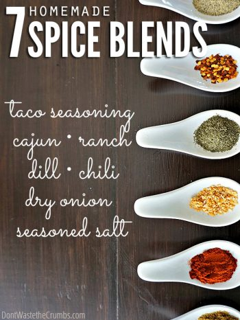 Six white stylish spoons, each filled with rich colored spice, all on a dark wooden table. Text overlay 7 Homemade Spice Blends - Taco Seasoning - Cajun - Ranch - Dill - Chili - Dry Onion - Seasoned Salt.