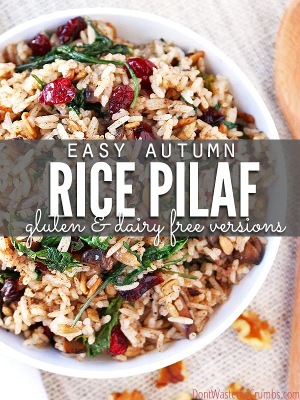 This simple autumn rice pilaf is a delicious gluten-free alternative to traditional stuffing. It's so easy to make and ready in just 20 minutes! Recipe also include dairy-free and vegetarian options. YUM! :: DontWastetheCrumbs.com