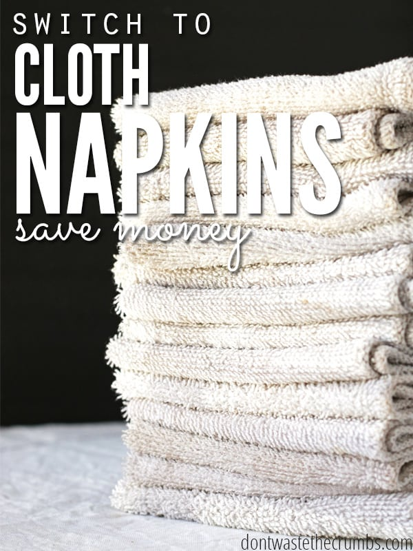 Switch to cloth napkins can save you a LOT of money on napkins and paper towels. While it might seem strange at first, this simple switch can save you big each year on your grocery budget! ::Dontwastethecrumbs.com