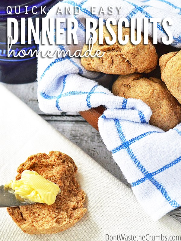 When you're looking for a quick & simple biscuit recipe, this recipe for easy homemade dinner biscuits is a winner. Extra butter & extra salt mean extra yum! :: DontWastetheCrumbs.com