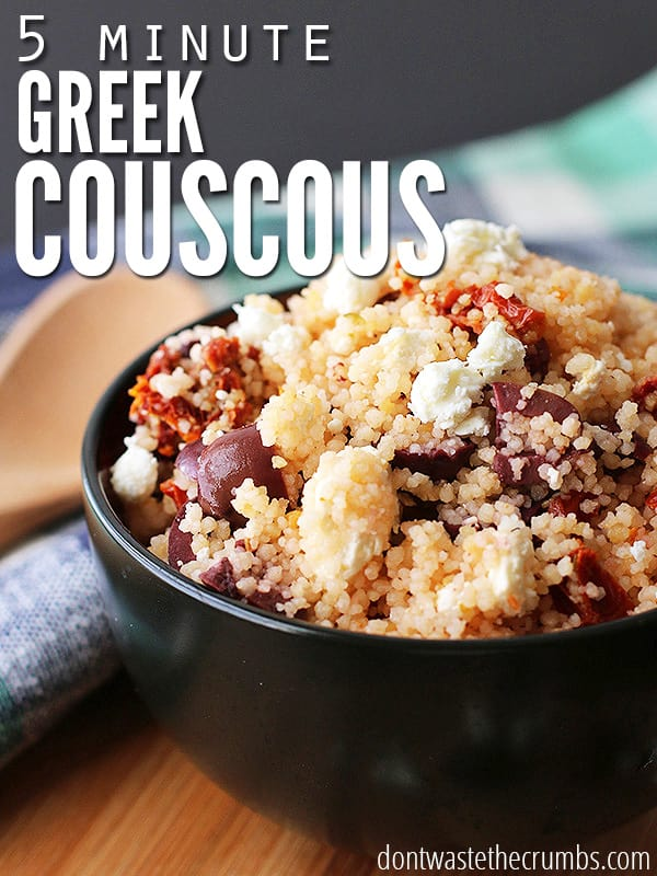Healthy, simple, easy & delicious five minute greek couscous, will wow your tastebuds. An amazingly simple recipe that packs a ton of flavor!