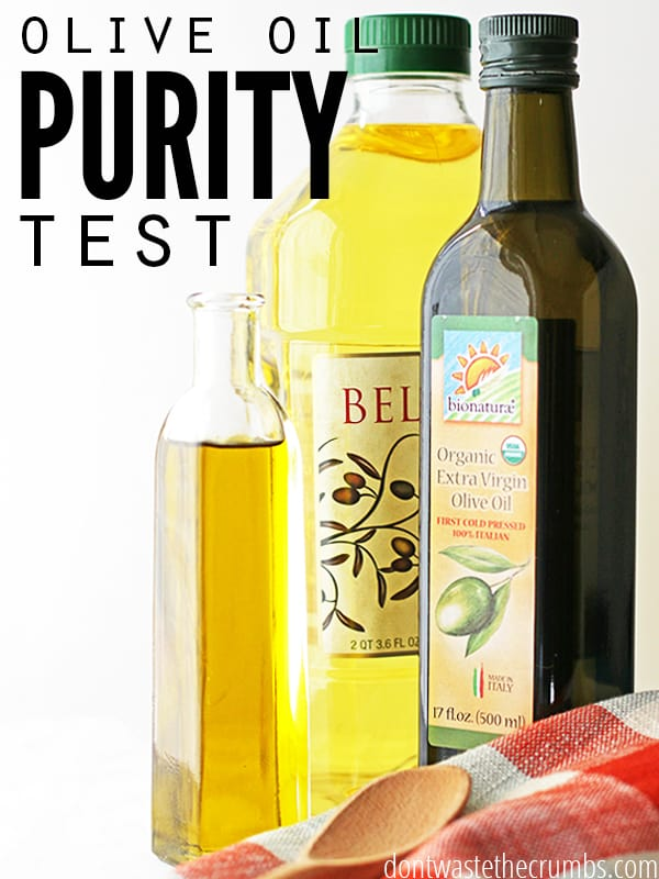 Is your olive oil even real olive oil? Before you waste your hard earned cash on this precious item, make sure what you are buying is pure! Here is a simple, two-step olive oil purity test that will help you determine if your olive oil is real or fake! ::Dontwastethecrumbs.com