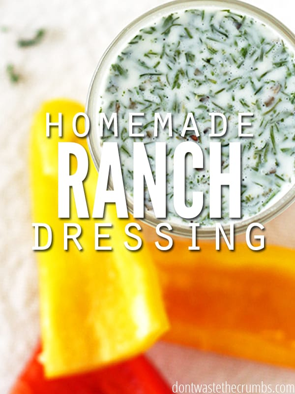 Easy recipe for homemade ranch dressing. Ready in two minutes, tastes better than store bought and healthier too! Save money by making it yourself, with ingredients you already have! :: Dontwastethecrumbs.com