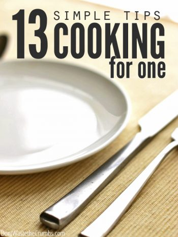 "Empty plate with knife and fork and text overlay, ""13 Simple Tips Cooking for One""."