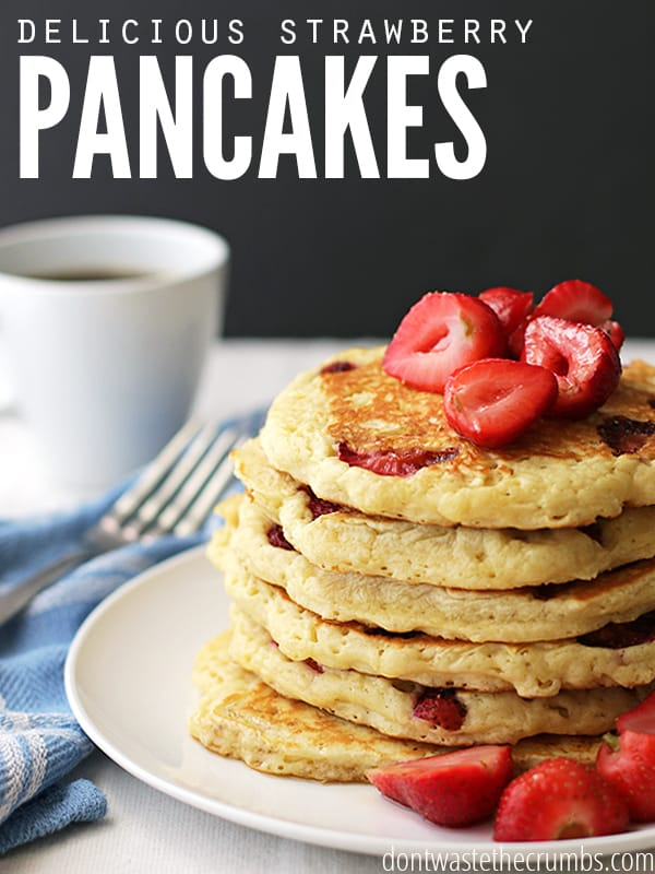 Delicious and fluffy strawberry pancakes, ready in just a few minutes. An easy recipe, clean eating family favorite breakfast recipe. :: dontwastethecrumbs.com