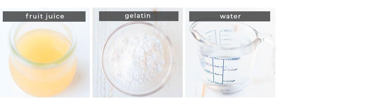 Image containing recipe ingredients fruit juice, gelatin, and water.