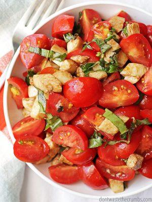 Insalata Caprese Salad & 4 Variations: Tomato Mozzarella & Basil Salad