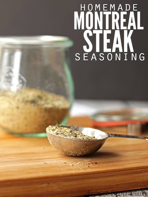 Easy recipe for homemade Montreal steak seasoning plus bonus homemade Montreal chicken seasoning, using spices you already have. Frugal, simple and delicious - it's our favorite spice for just about anything! :: DontWastetheCrumbs.com