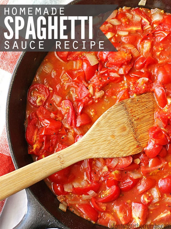 We created this simple homemade spaghetti sauce recipe while on vacation in Costa Rica. Four fresh ingredients & the time it takes to boil pasta is all you need. Such an easy recipe and way to save money - just $1.19 to feed the whole family! :: DontWastetheCrumbs.com