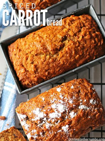 """Three loaves of quick bread, one being sliced. Text overlay says, """"Spiced Carrot Bread""""."""