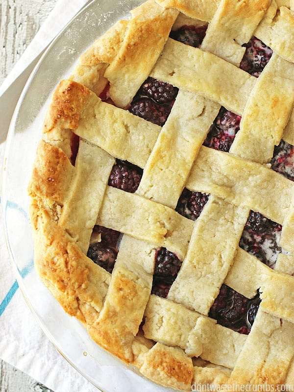 A perfect summer pie recipe for homemade berry pie. You can make blackberry, blueberry, strawberry, raspberry - or any berry pie - using this simple and easy recipe! :: DontWastetheCrumbs.com