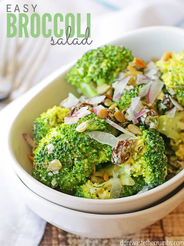 Looking for an easy broccoli salad recipe? Here's one that I created that is all too delicious and perfect for pot-lucks! :: DontWastetheCrumbs.com
