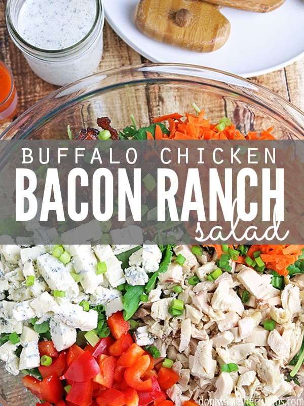 Hands-down, my all-time favorite meal is this Buffalo Chicken Bacon Ranch Salad. The entire meal costs less than $7, fills up the bellies of my entire family and puts 6 different veggies on the table. Clean plates without complaints! :: DontWastetheCrumbs.com