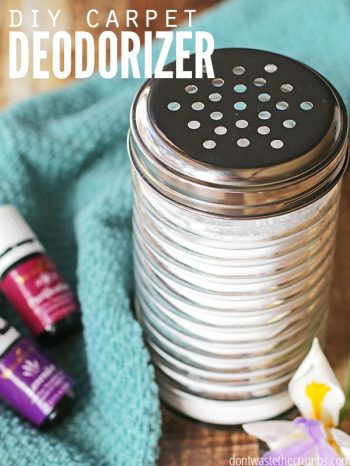 "Shaker jar with carpet deodorizer in it with essential oils. Text overlay says, ""DIY Carpet Deodorizer"""
