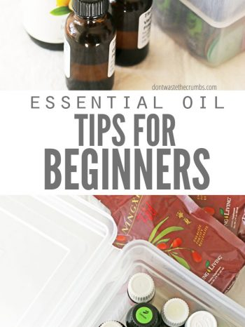 """Two images of bins filled with essential oil bottles and text overlay, """"Essential Oil Tips for Beginners""""."""