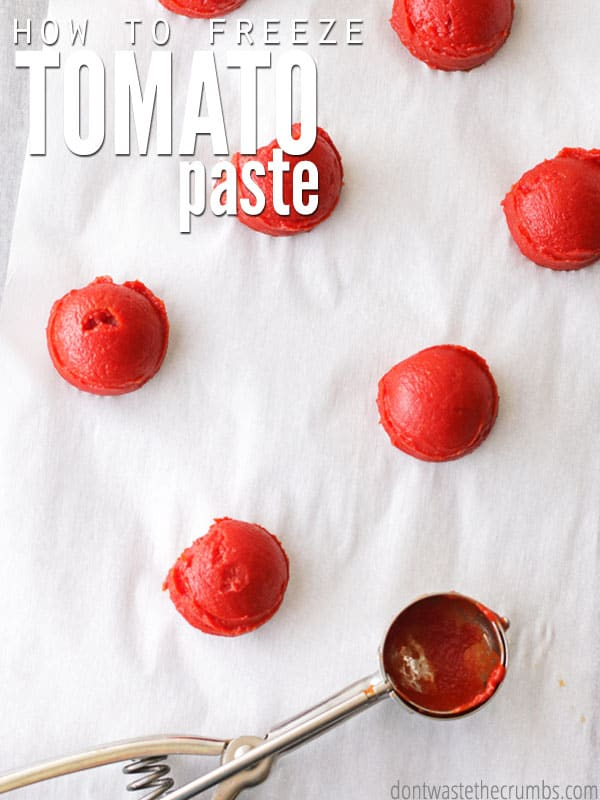 Super simple tutorial showing how to freeze tomato paste. Stop throwing away partially used cans of tomato paste and definitely don't stick them in the fridge! Save money in three minutes with this simple trick to freeze tomato paste - no special equipment needed! :: DontWastetheCrumbs.com