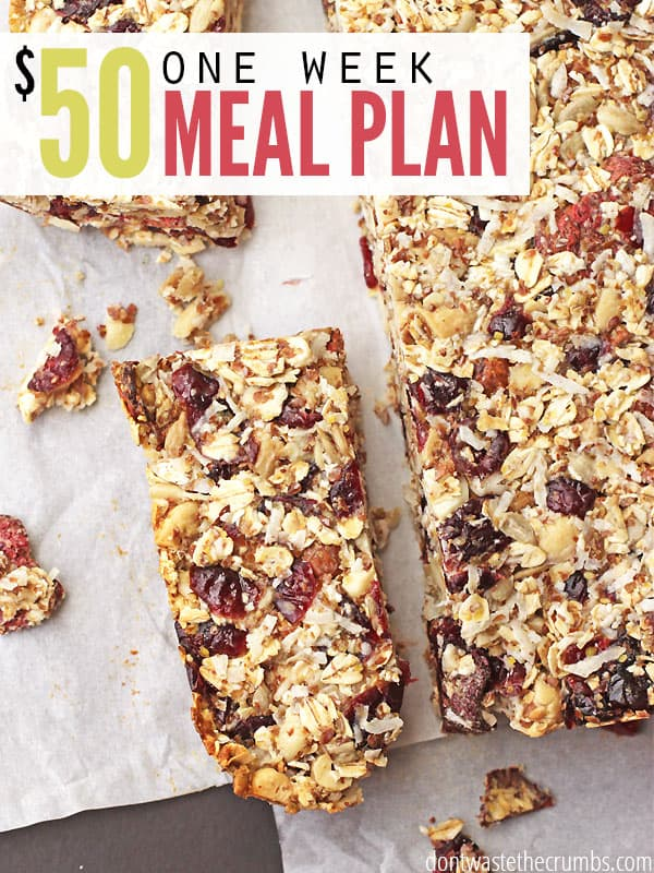 This $50 meal plan for a family of 4 includes clean eating easy recipes for breakfast, lunches and dinners for an entire week. It uses seasonal produce, and it's perfect when money is tight and you're not sure what to put on the table, or use as a budget tip to save money on groceries - plus this is the second one in the series! :: DontWastetheCrumbs.com