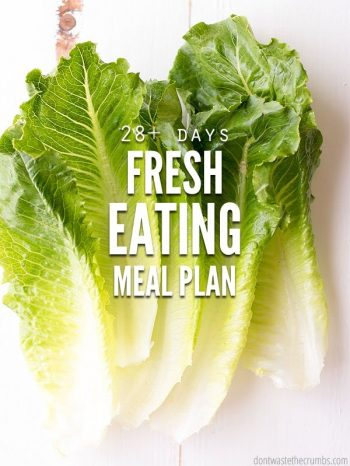 "Romaine lettuce leaves with text overlay, ""28+ Days Fresh Eating Meal Plan""."