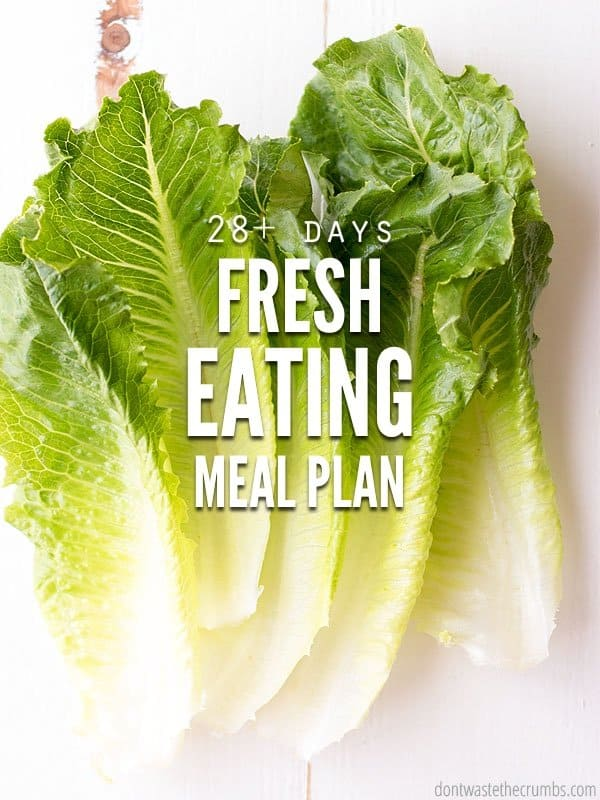 "Romaine lettuce leaves with text overlay ""28+ Days Fresh Eating Meal Plan""."