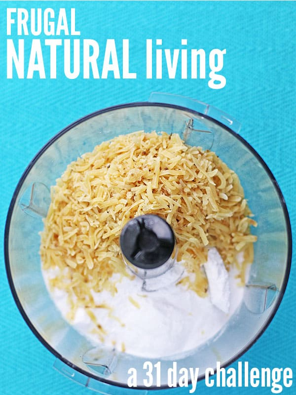 Getting healthy has never been easier thanks to this Frugal Natural Living 31 Day Challenge. It's a month full of baby steps, designed for both the novice and advanced, covering real food, easy DIY's, natural living & saving money. If you've always wanted to live a healthier life but wasn't sure where to start, you need this challenge! :: DontWastetheCrumbs.com