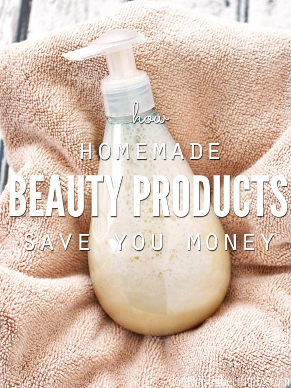 If you ever wondered whether or not homemade beauty products really saved you money, here's the full explanation that boils down to two main points (waste and cost) and how to avoid them. Plus there's tons of recipes to make your own beauty products like lip gloss, foundation and shaving cream! :: DontWastetheCrumbs.com