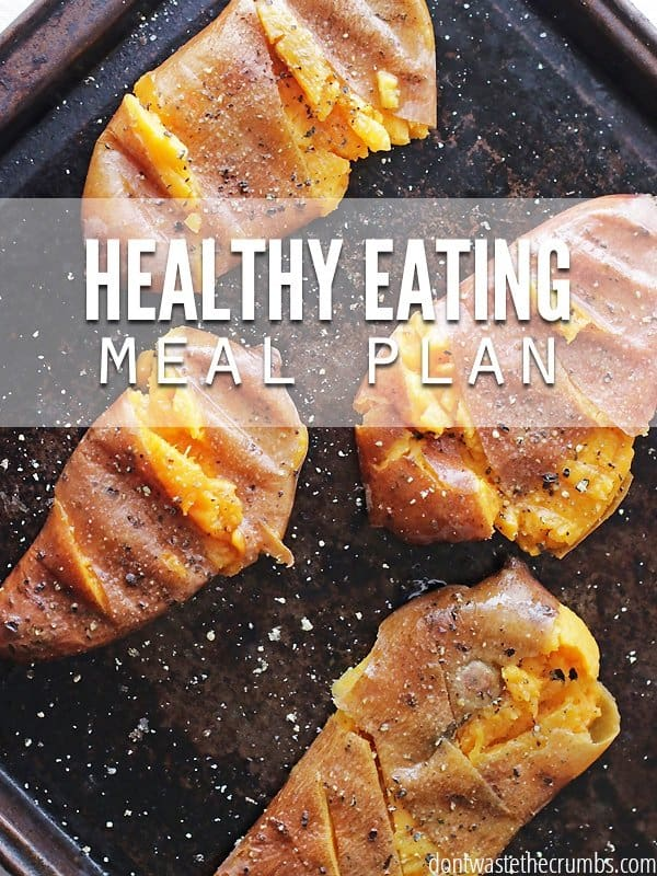 Healthy eating meal plan on a budget for a family of 4 for $330. Ideas for frugal meals, simple recipes & monthly meal plan on a budget. :: DontWastetheCrumbs.com