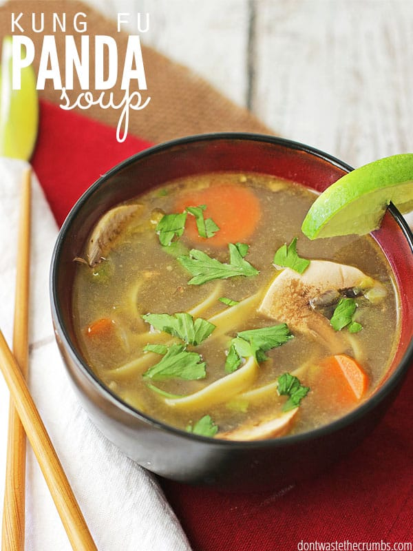 My kids LOVE this easy recipe for Kung Fu Panda Soup and I love that it's a fast dinner ready in less than 15 minutes. And they don't complain about eating the vegetables! It's a perfect weeknight meal when time is short, and get this - it costs just $2 for the whole pot! :: DontWastetheCrumbs.com