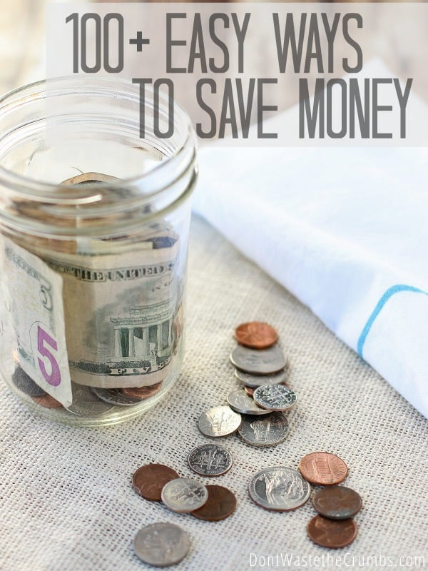 I love this awesome list of easy ways to save money! Simple, practical ideas to trim food, household and other various expenses to make saving money easy. Great money saving tips for every family, and many of them new to me! :: DontWastetheCrumbs.com