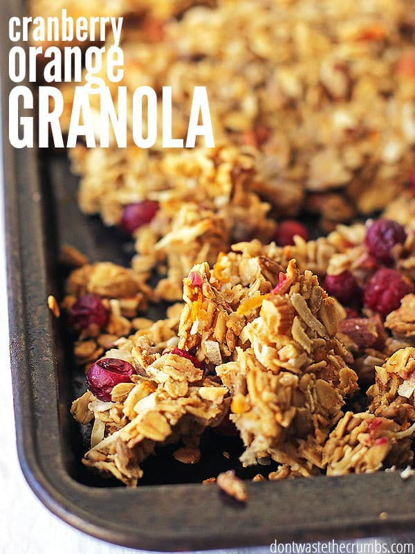 This cranberry orange granola is so good! It tastes like Christmas and is so much healthier for you than a bowl of processed cereal. One batch makes over 8 servings for about 63¢ each. Plus you can make it ahead of time for the whole week or even offer as an easy homemade gift for Christmas too! :: DontWastetheCrumbs.com
