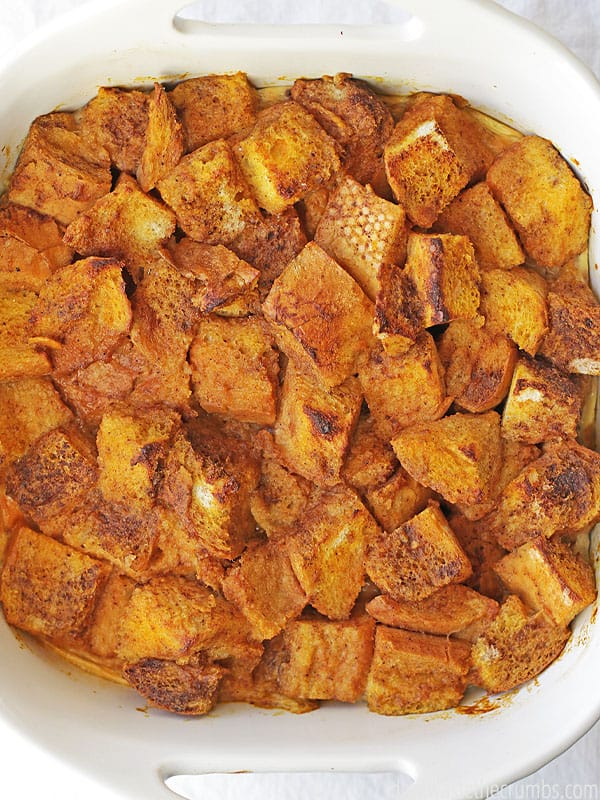 This baked pumpkin french toast casserole makes for a perfect brunch dish. Make it overnight and bake in the morning!