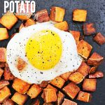 Fried Sweet Potatoes with runny Eggs Cover