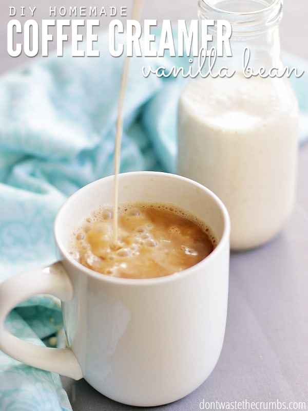 This easy recipe for Homemade Vanilla Bean Coffee Creamer is so good! It requires just 4 simple ingredients and in minutes you'll have homemade vanilla coffee creamer without the junk in store-bought. Plus it's frugal too! :: DontWastetheCrumbs.com