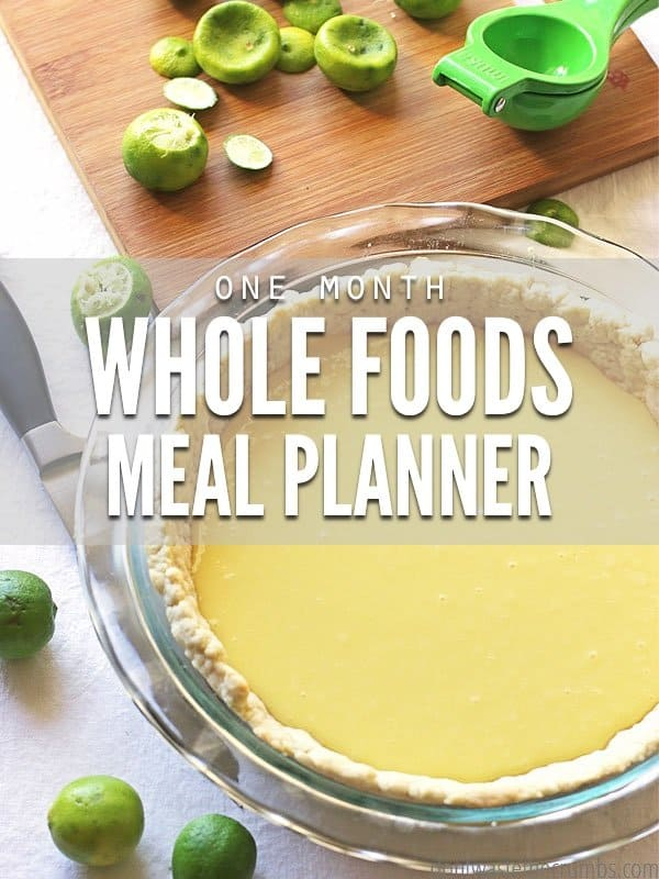 This whole foods meal planner will help you feed your family real food for a full month! This plan is designed to feed a family of four for about $350. :: DontWastetheCrumbs.com
