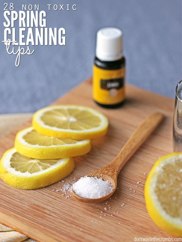 A clean home shouldn't smell like chemicals, and this awesome list of 28 non-toxic spring cleaning tips show you how you can clean the bathroom, kitchen and bedroom safely and effectively without any harmful chemicals or strong odors! :: DontWastetheCrumbs.com