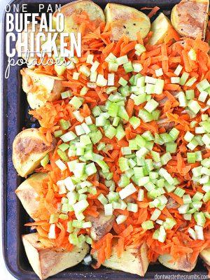 One Pan Buffalo Chicken Potatoes