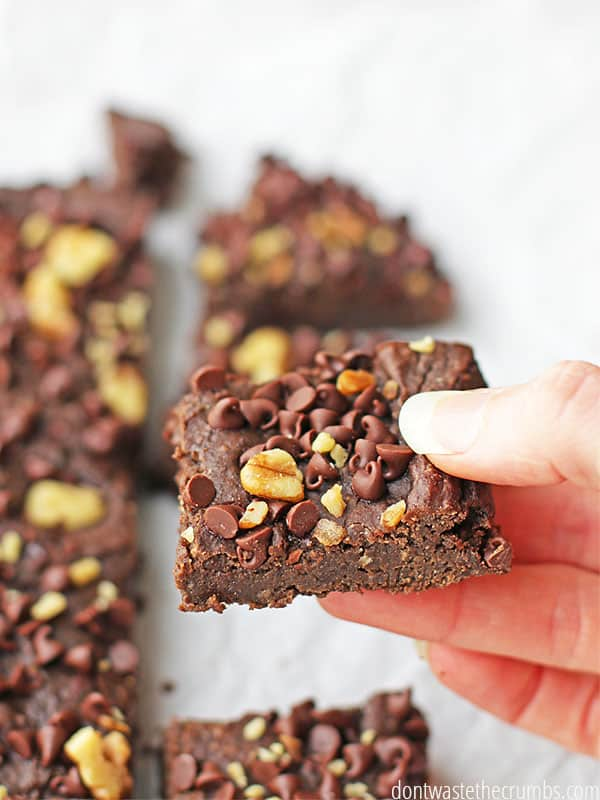 Freshly sliced black bean brownies with chocolate chips and walnuts on top. A hand holds a square slice that is ready to enjoy!