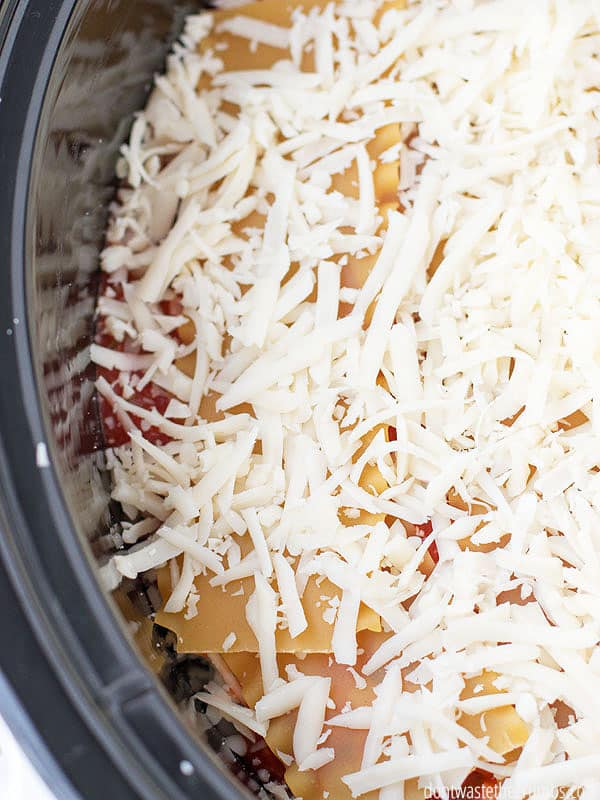 My kids love this slow cooker meatless lasagna, and my husband doesn't even miss the meat! This recipe still boasts tons of protein and since it cooks in the slow cooker, I don't have to even be in the kitchen to cook dinner! This slow cooker dinner is on our meal plan almost every week! :: DontWastetheCrumbs.com