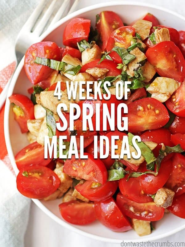 Spring Meal Ideas to feed your family healthy food without going broke! This 4 week meal plan is designed to feed a family of four for $330 a month! :: DontWastetheCrumbs.com